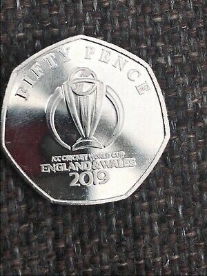 🇮🇲The Official ICC Cricket World Cup Emblem  2019 50p Fifty Pence Coin