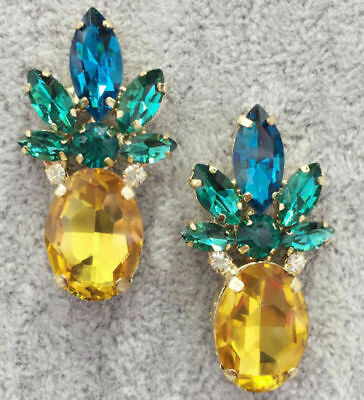 Fashion Crystal Ear Drop Dangle Stud Ancient Gold long Tassels Pineapple Earring