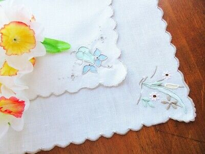 TWO Vintage Cream Linen Doilies - Pastel Madeira Hand Embroidery and Appliqué