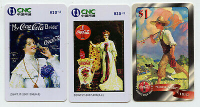 Coca Cola 1990s Set of 3 Telepphone Cards Collectable Vintage