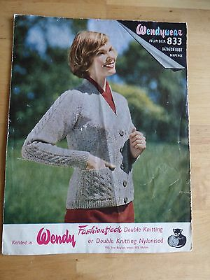 """Vintage Knitting Pattern, 60s, Cardigan, Cabled Sleeves & Pockets, dk, 34-38"""""""