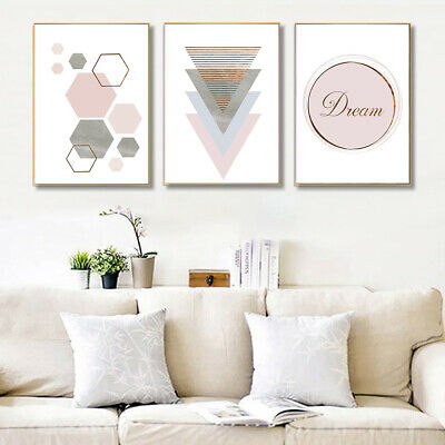 Am_ Nordic Geometric Canvas Wall Printing Picture Poster Art Cafe Home Decor Fad