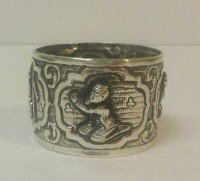 Sterling Silver Embossed Napkin Ring, Chinese Figures, 20 grams