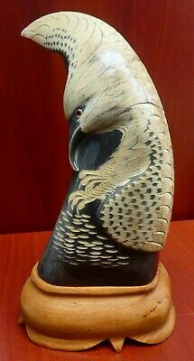 Ornate & Intricate Hand Carved Buffalo Horn Flying Eagle Design - b
