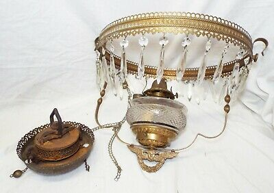 Old Antique Ornate Brass HANGING LAMP FRAME w/ Pattern Glass Font & Burner