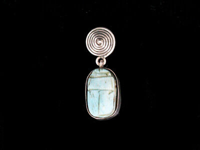 Antique Egyptian Revival Sterling Silver Blue Scarab Faience Pendant