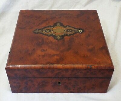 Old Antique BURLED WOOD Hinged Lid Ornate BRASS INLAY BOX Humidor