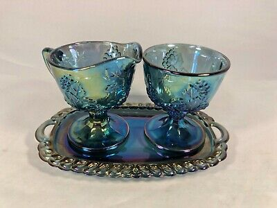 Indiana Carnival Glass Harvest Grapes Iridescent Blue Creamer & Sugar on Tray