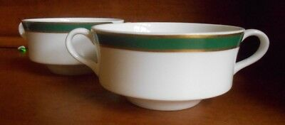 7 Lenox Decor Cream, Bouillon Soup Cups  Ivory Green Gold Trim