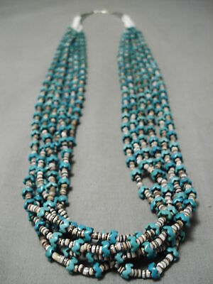 Very Important Very Rare Zig Zag Turquoise Sterling Silver Heishi Necklace Old