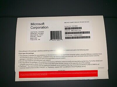 Microsoft Windows 10 Professional 64 Bit Full Version DVD with Product key