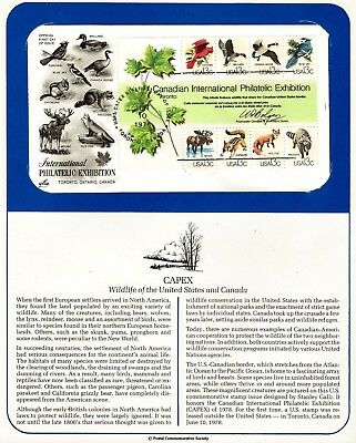 1978-06-10 CAPEX Wildlife of US and Canada Block of 8 Stamps USPS Toronto FDC