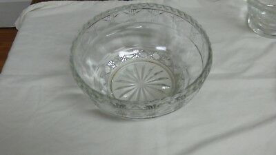 Antique Old EAPG Elegant Crystal Glass Serving Bowl Crosscut Panel Pattern