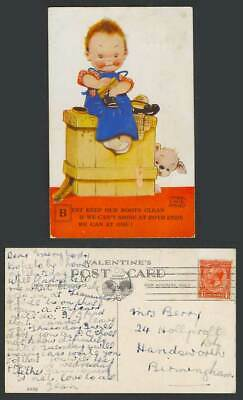 MABEL LUCIE ATTWELL 1932 Old Postcard Best Keep Our Boots Clean, Shoeshiner 2129