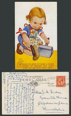 MABEL LUCIE ATTWELL 1932 Old Postcard Girl, Make a Clean Sweep of Friends. 2039