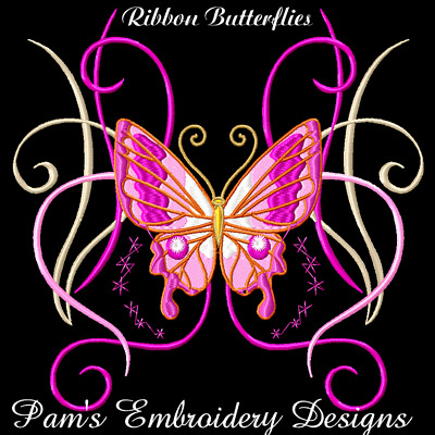 RIBBON BUTTERFLIES 10 MACHINE EMBROIDERY DESIGNS CD or USB