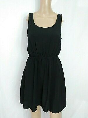 2d78fba84698 NWT Forever 21 Black Tie Back Cut Out A-line Fit & Flare Minimalist Slip