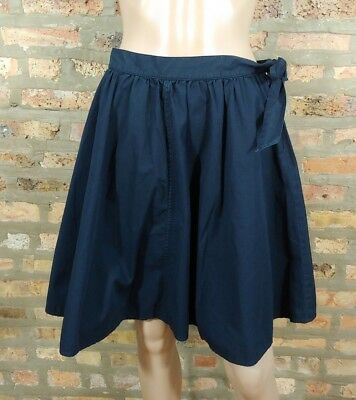a2339d6aab J.CREW Navy Blue Gathered Fit & Flare Belted Tied Skater Circle Skirt SZ 2