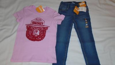 NEW Girls Size 4 Gymboree Outfit Pull-On Jeggings Jeans & Smokey Bear Shirt NWT