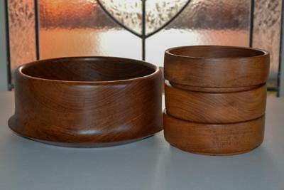 4x Retro Mid Century Teak / Wooden Bowls - 1 Large & 3 Small - Vintage - Party