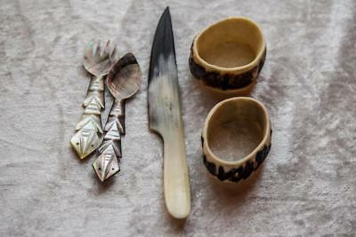 Vintage Carved Shell & Bone Knife / Spoon / Fork / Napkin Rings -Mother of Pearl