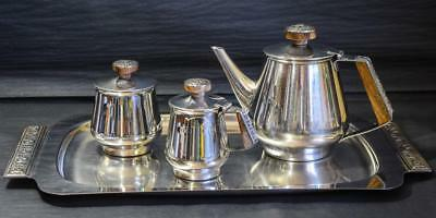 4 Piece Tea Set FLORENCE Stainless Steel Tray/TEAPOT/Creamer/Sugar Bowl VINTAGE