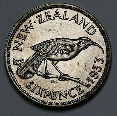 1933 New Zealand NZ Sixpence Coin George V KM# 2 AU/UNC