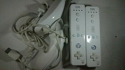 2 Sets Official Nintendo White Wiimote Wii Remote Controller & Nunchuck