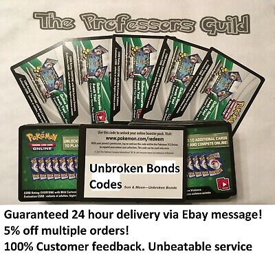 Pokemon TCG PTCGO Sun And Moon Unbroken Bonds Online Codes Cards x50 Very Fast!