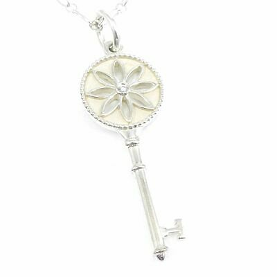 572515041 Auth Tiffany & Co. Sterling Silver 925 Key 1P Diamond Pendant Necklace D1377