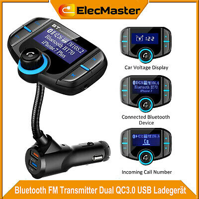 Bluetooth FM Transmitter QC3.0 USB KFZ Auto TF AUX Freisprechanlage MP3 Player