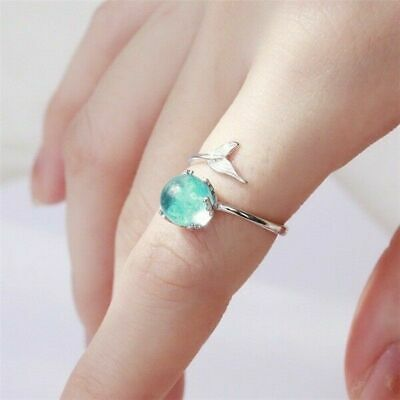 925Silvering Aquamarine Mermaid Bubble Band Jewelry Adjustable Size Ring Fashion