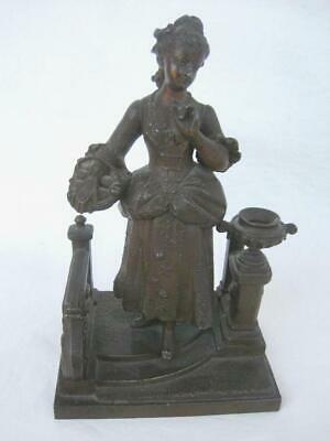 Antique Bronze finish Spelter Victorian Lady with fruit Basket Stairs Column Urn