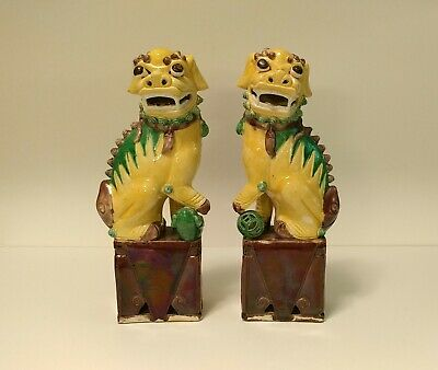 Antique Chinese Export Foo Lion Dogs Sancai glaze 12' high