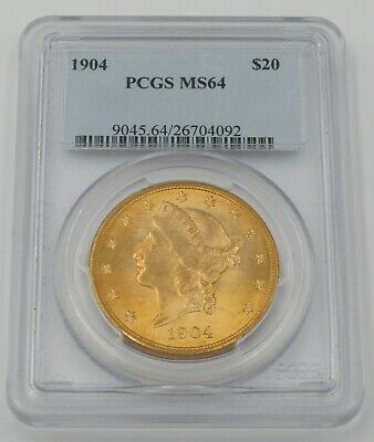 1904 P $20 Liberty Head Double Eagle Gold Coin - PCGS MS64 - Cert# 26704092