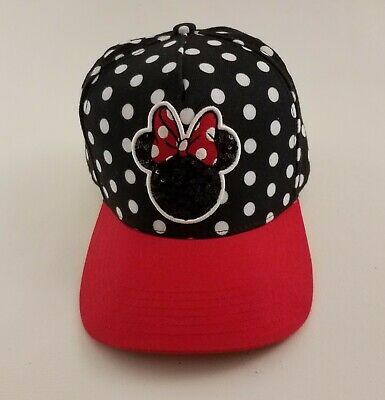 Disney Minnie Mouse Women's Adult Hat Baseball Cap w/ Sequin logo Snapback New
