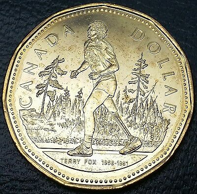 2005 Canada Terry Fox Loonie *TYPE 4 MISSING GRASS BROKEN BRANCHES ERROR* BU UNC