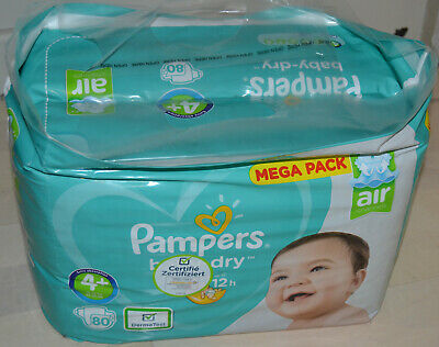 Lot 80 Couches Pampers Baby Dry Taille 4+ (10 - 15 Kg)