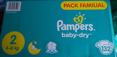 LOT DE 132 COUCHES PAMPERS BABY DRY PANTS Taille 2 ( 4 - 8 kg)  NEUF