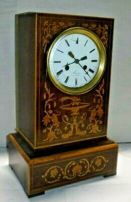 Antique French Silk Thread Inlaid wood Mantel Clock Porcelain Dial Working c1820