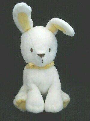 "Carter's White Rabbit Yellow Ears Soft Plush Infant Toy 6"" NEW"