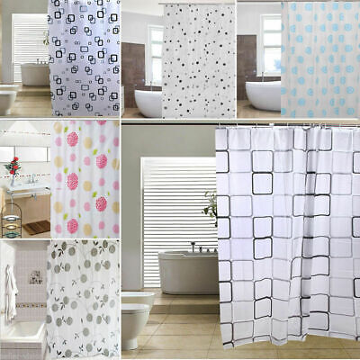 Luxury Modern Bathroom Shower Liner Curtains Extra Long with Hooks 180 x 180cm