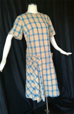 Mid-Century Modern BLUE CHECK Vintage 1960s  DROP WAIST DRESS - L / XL