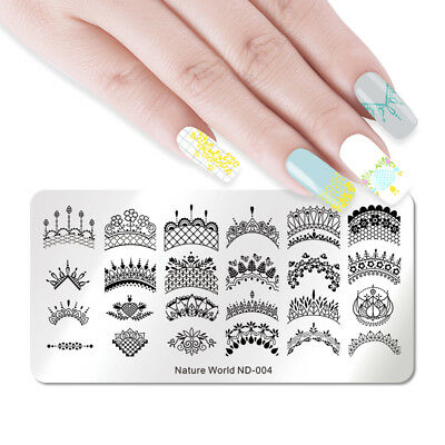 NICOLE DIARY Nail Art Stamping Platess Lace Flower Leaf Stamp Template DIY Nails