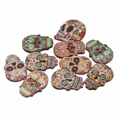 Fashion Wooden Handmade Natural Sewing Skull Skeleton Scrapbooking Wood Buttons