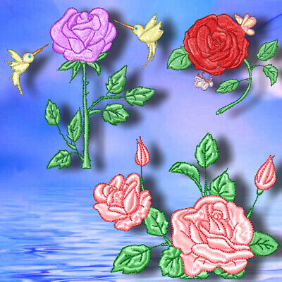 ROSES 10 MACHINE EMBROIDERY DESIGNS CD or USB