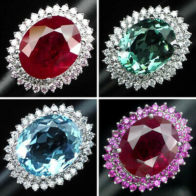 Emerald Ruby Aquamarine Ring Oval 12.3-22.98 CT. 925 Sterling Silver Size 6-6.25