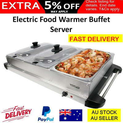 Buffet Food Warmer Electric Server 3 Tray Large Bain Marie Stainless Steel New