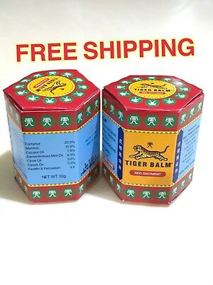 2 x 30g. Thai Tiger Balm Red Relief Muscular Aches Pain Sprains Ointment Massage