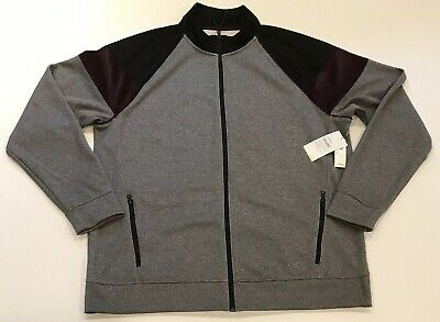 618414ac Old Navy Go-Dry Color Block Velour Trim Track Jacket Mens XL Gray Blk Purple